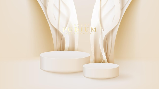 Realistic white display stand with golden curve lines scene, podium showing product for promotion sales and marketing. luxury style background. 3d vector illustration.