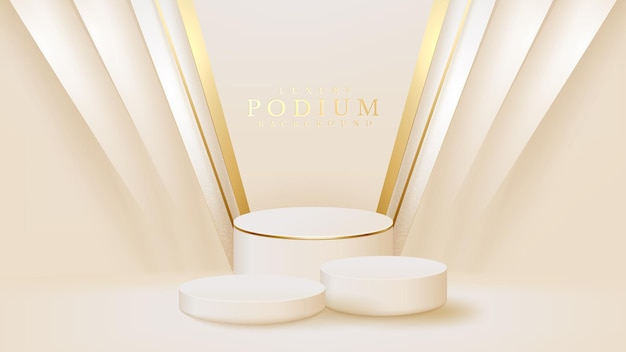 Realistic white display stand with golden diagonal lines scene, podium showing product for promotion sales and marketing. luxury style background. 3d vector illustration.