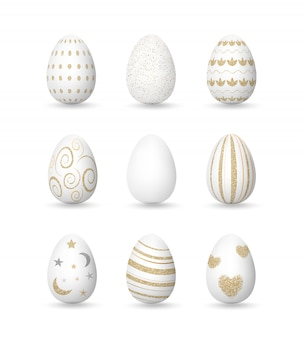 Realistic white eggs with golden patterns, easter day collection