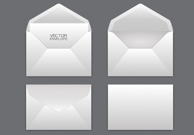 Realistic white envelope set on grey background.
