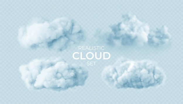 Realistic white fluffy clouds set isolated on transparent