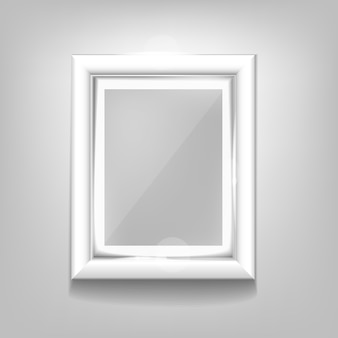 Realistic white frame pattern on a white background.