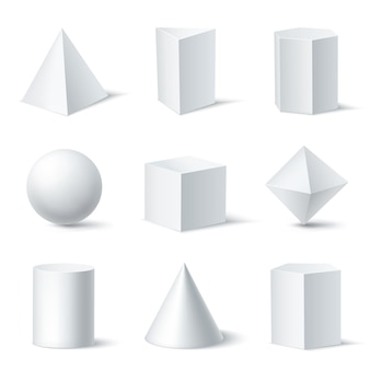 Realistic white geometric shapes set with nine isolated solid body objects on clear background with shadows illustration