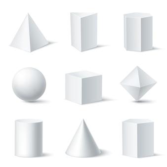 Forme geometriche bianche realistiche impostate con nove oggetti di corpo solido isolati su sfondo chiaro con illustrazione di ombre