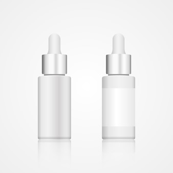 Realistic white glass cosmetic bottle