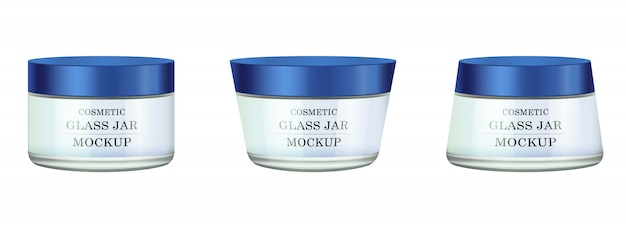 Realistic white glass jar with blue plastic lid for cosmetics