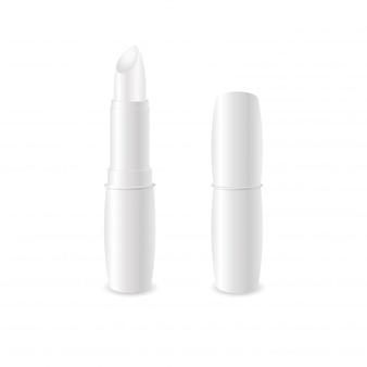 현실적인 흰색 광택 립밤 스틱.