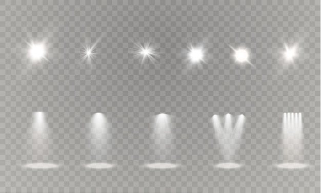 Realistic white gray glowing spotlights on transparent laid background. theater studio, scene illumination. magic, bright, gradient light effects.