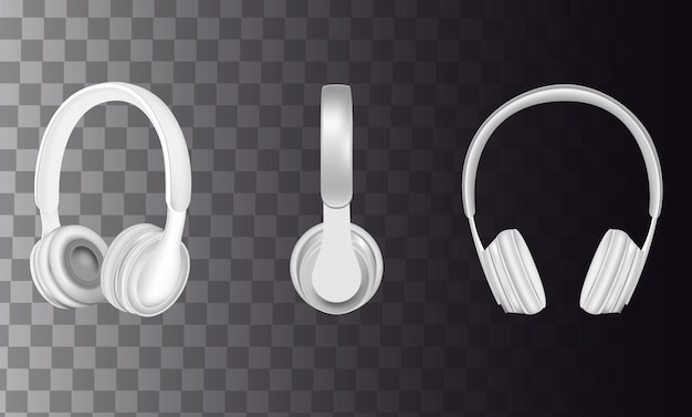 Realistic white headphones icon set