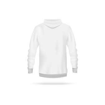Realistic white hoodie  from back view - men's long sleeve sweater with hood  on white background. sport apparel  template -  illustration.