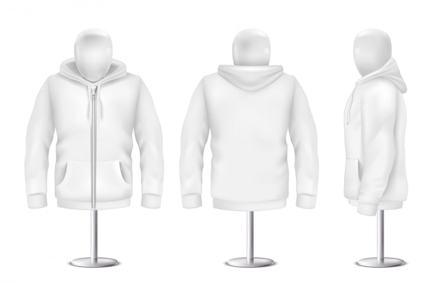Realistic white hoodie, front, back, side view of sweatshirt