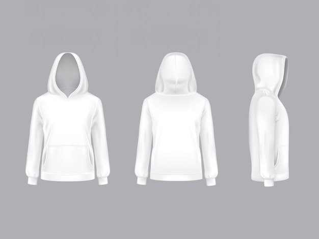 Realistic white hoodie with long sleeves and pockets, casual unisex model