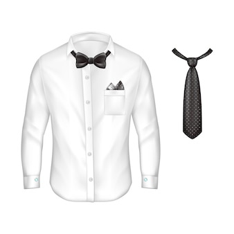 Realistic white male shirt with long sleeves, buttons and cufflinks, bow-tie