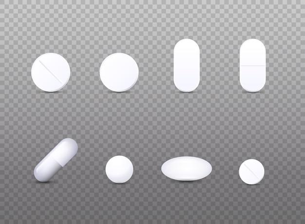 リアルな白い医療ピルアイコンセットイラスト
