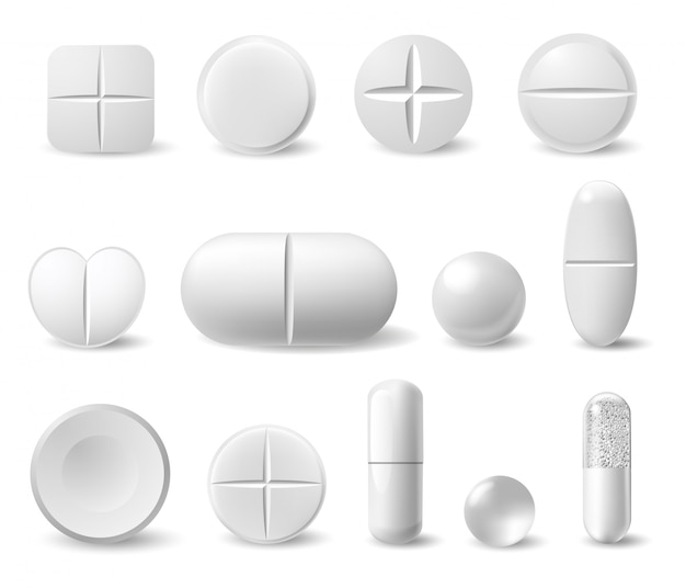 Realistic white medicine pills. pharmaceutical painkiller drugs, antibiotics, vitamins capsule. chemical healthcare treatment  icons set. illustration pharmaceutical, medicine white product