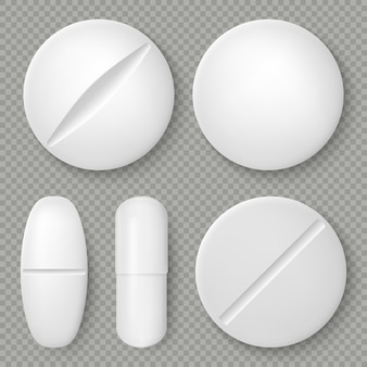 Realistic white medicine pills and tablets isolated on transparent background. pharmaceutical design object. healthcare template.