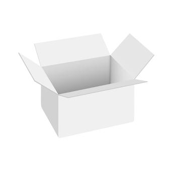 Realistic white open box