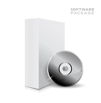 Realistic white opened blank 3d box illustration and music or soft cd.