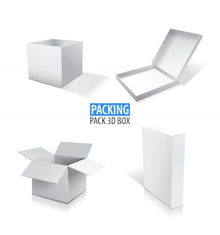 Realistic white opened and closed blank box set illustration.