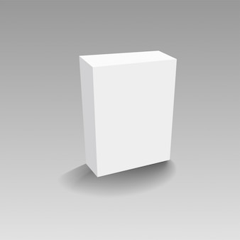 Realistic white paper or plastic packaging box on transparent background.