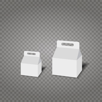 Realistic white paper or plastic packaging box
