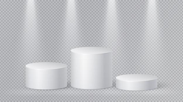 현실적인 흰색 받침대. 빈 미니멀 연단, 3d 실린더. 격리 된 타원 디자인. 베이스 스탠드, 간단한 플랫폼 벡터 모형. 받침대 연단, 현실적인 플랫폼, 기하학적 무대 그림