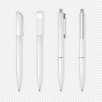 현실적인 흰색 펜 아이콘 세트입니다.