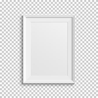 透明な背景に分離されたリアルな白い額縁。