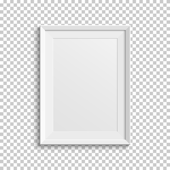 Realistic white picture frame isolated on transparent background.