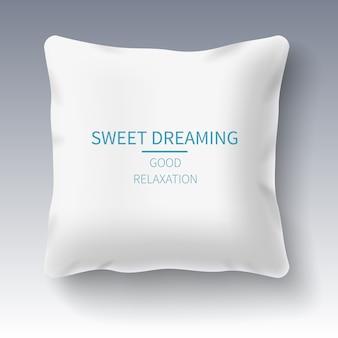 Realistic white pillow on grey