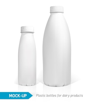 Realistic white plastic bottle for dairy products, juice or milk.  packages