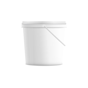 측면보기에서 현실적인 흰색 플라스틱 양동이입니다. 빈 아이스크림 컨테이너 또는 디저트 요구르트 또는 페인트 패키지의 3d, 빈 광고에 대 한 조롱-절연.