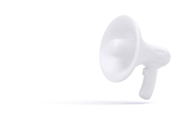 白い背景で隔離のリアルな白いプラスチック製メガホン。図