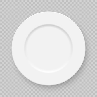Realistic white plate dish isolated