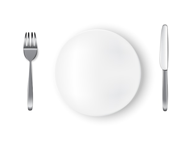 Realistic white plate or dish, metal fork and knife for food