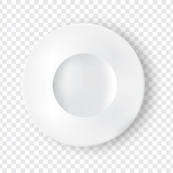 Realistic white plate or dish