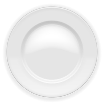 Realistic white plate isolated