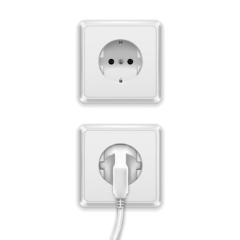 Realistic white plug and plastic power socket europe type electric.