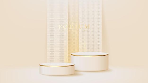 リアルな白い表彰台、化粧品または商品スタンド、プロモーションのための豪華な背景、3dベクトルイラスト。