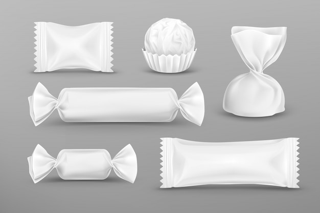 Realistic white polyethylene package for candies
