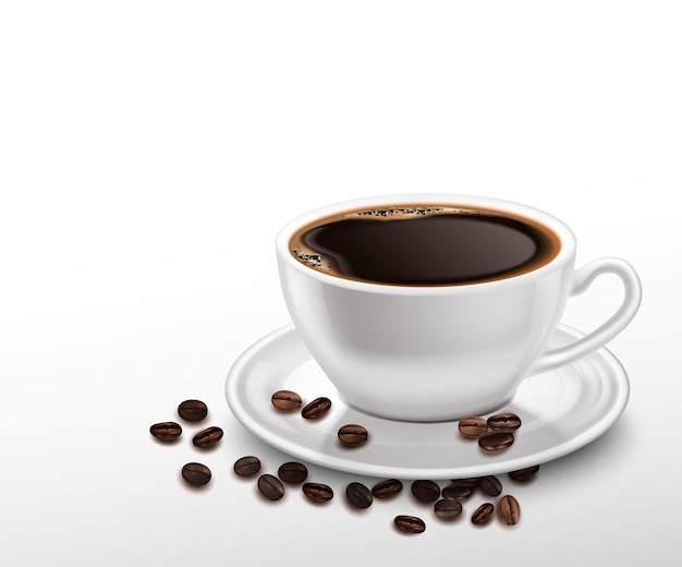 Realistic white porcelain cup of black coffee and beans