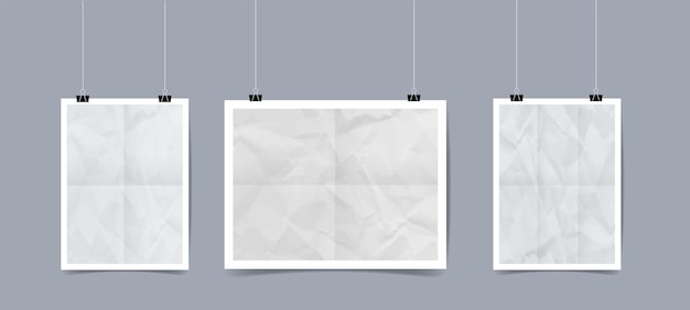 Realistic white poster template hanging