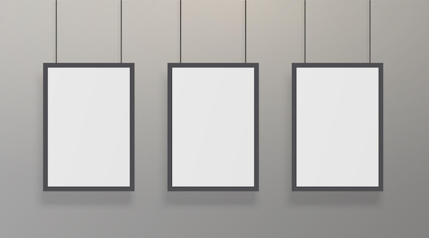 Realistic white poster with black frame