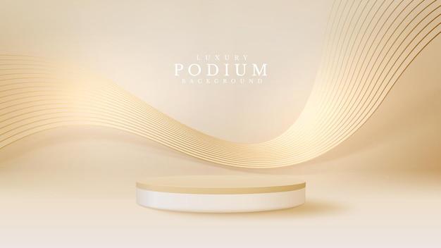 背中にラインゴールデンウェーブを備えたリアルな白い製品の表彰台ショーケース。豪華な3d背景の概念。