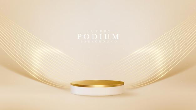 뒷면에 선 황금 물결이 있는 현실적인 흰색 제품 연단 쇼케이스. 럭셔리 3d 스타일 배경 개념입니다. 판매 및 마케팅을 홍보하기 위한 벡터 일러스트입니다.