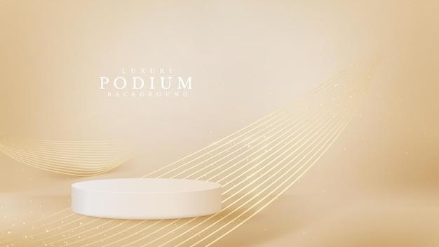 뒷면에 선 황금 물결이 있는 현실적인 흰색 제품 연단 쇼케이스. 럭셔리 3d 스타일 배경 개념입니다. 판매 및 마케팅을 홍보하기 위한 벡터 그림입니다.
