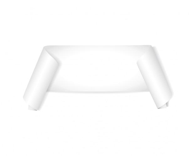 Realistic white ribbon