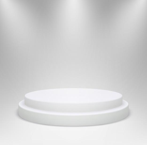 スタジオの照明で現実的な白い丸い表彰台。灰色の背景に製品のショーケースの3d台座またはプラットフォーム。図。