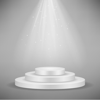 Realistic white round podium
