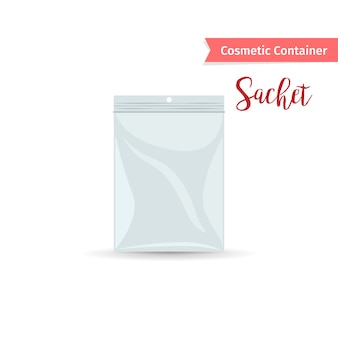 Realistic white sashet for cosmetic product
